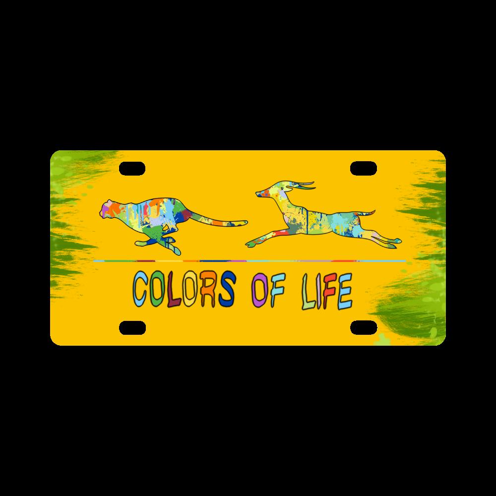 Colors of Life Splash Shape Antelope Cheetah Classic License Plate
