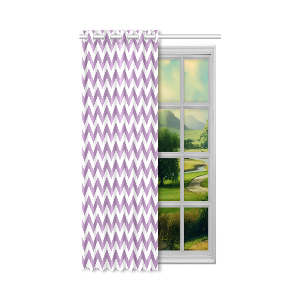 "Purple Lilac and white zigzag chevron New Window Curtain 52"" x 63""(One Piece)"