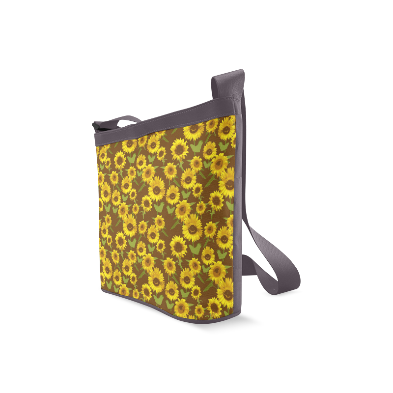 Country Sunflowers on Vintage Brown Background Crossbody Bags (Model 1613)