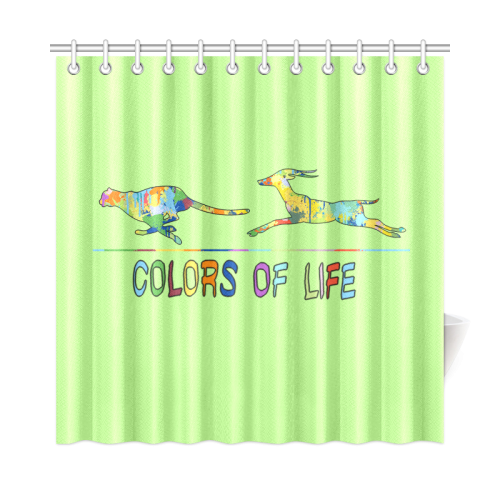 "Colors of Life Splash Antelope Cheetah Shower Curtain 72""x72"""
