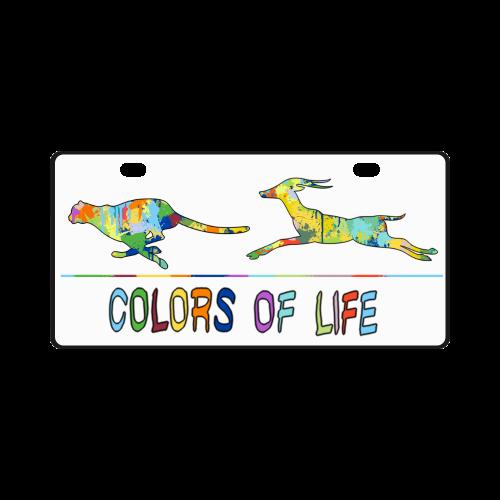 Colors of Life Splash Shape Antelope Cheetah License Plate
