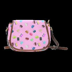Little Purses and Pink Polka Dots Saddle Bag/Small (Model 1649) Full Customization