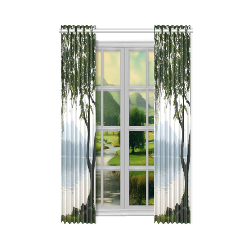 """Weeping Willow Mountian View New Window Curtain 50"""" x 108""""(One Piece)"""