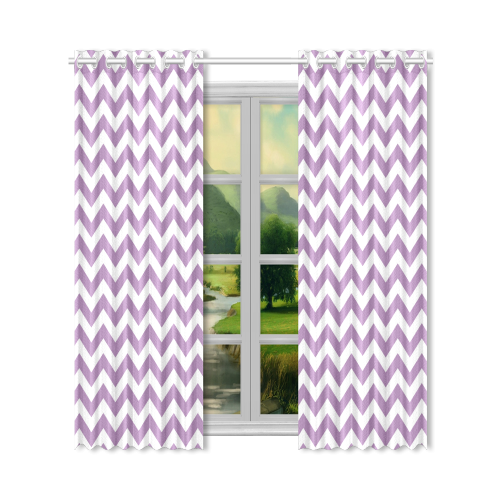 "Purple Lilac and white zigzag chevron New Window Curtain 50"" x 96""(One Piece)"