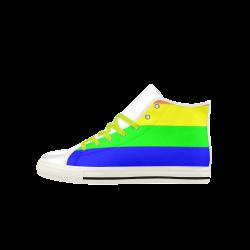 Rainbow Stripes Aquila High Top Microfiber Leather Men's Shoes (Model 027)
