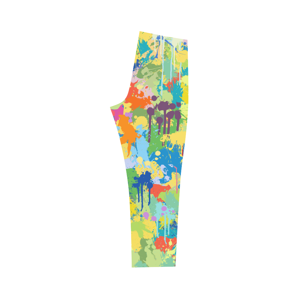 Colorful Splash Design Capri Legging (Model L02)