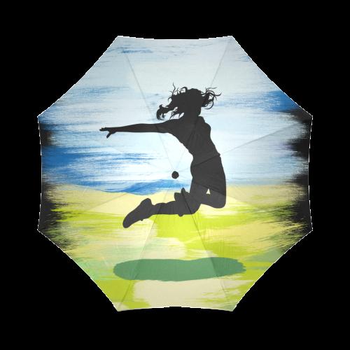 Girl Woman Jump Sky Colorful Painting Shape Foldable Umbrella (Model U01)