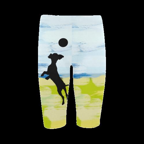 Dog Catching Ball Painting Shape Hestia Cropped Leggings (Model L03)