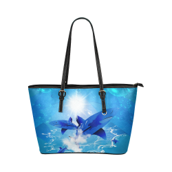 The cartoon sharks Leather Tote Bag/Large (Model 1651)
