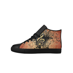 Decorative clef with floral elements and grunge Aquila High Top Microfiber Leather Women's Shoes (Model 027)