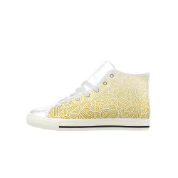 Ombre yellow and white swirls doodles Aquila High Top Microfiber Leather Men's Shoes (Model 027)
