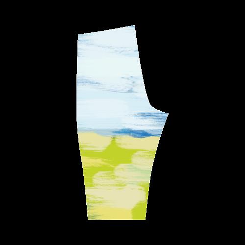 Green Blue Painting Hestia Cropped Leggings (Model L03)