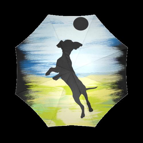 Dog Playing Ball Painting Shape Foldable Umbrella (Model U01)
