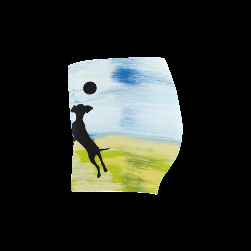 Dog Playing Ball Painting Shape Briseis Skinny Shorts (Model L04)