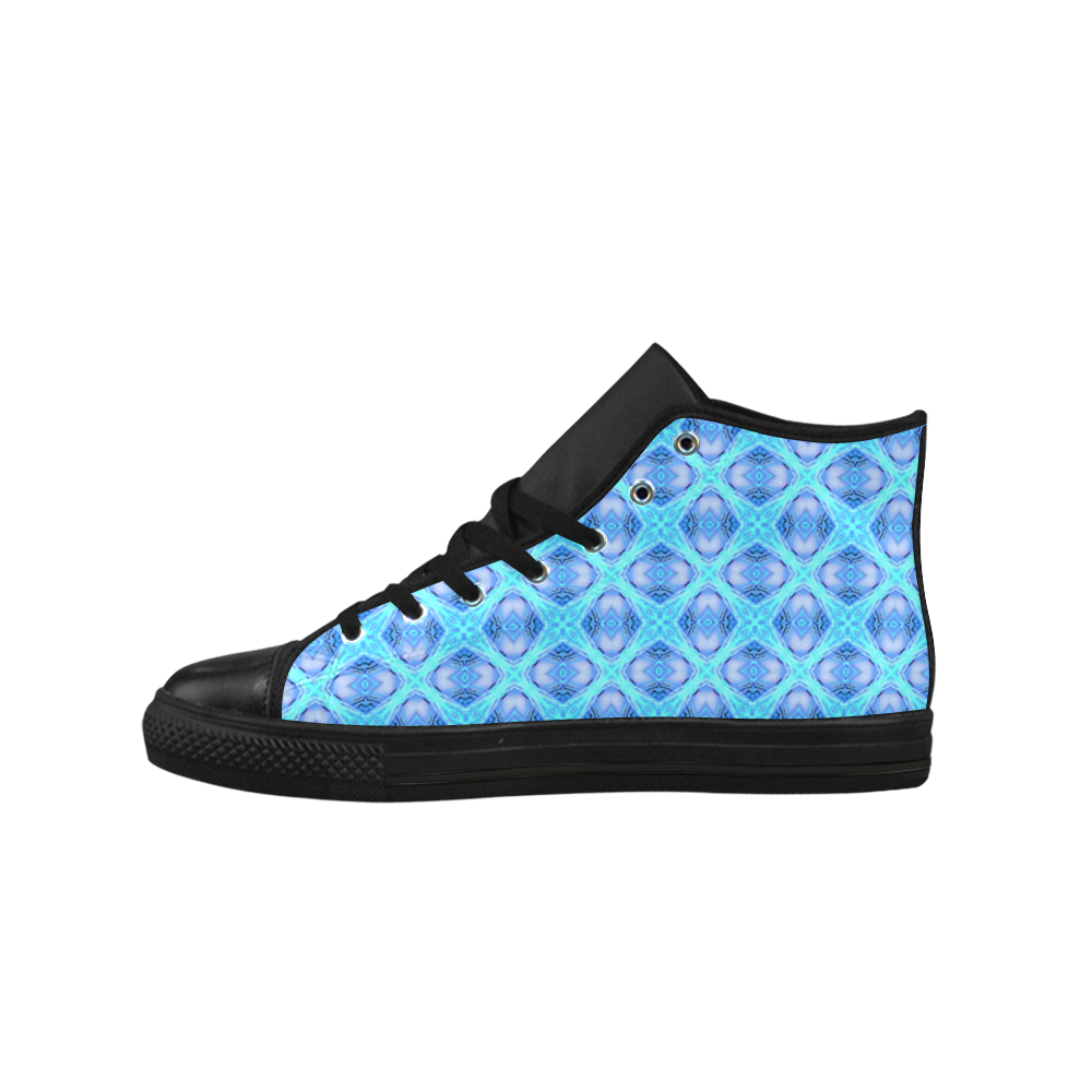 Abstract Circles Arches Lattice Aqua Blue Aquila High Top Microfiber Leather Men's Shoes (Model 027)