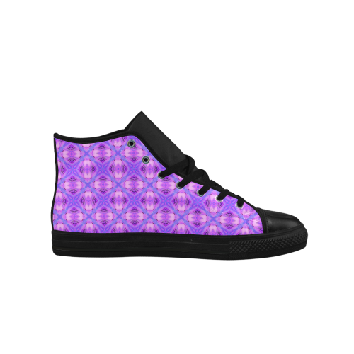 Vibrant Abstract Modern Violet Lavender Lattice Aquila High Top Microfiber Leather Men's Shoes (Model 027)