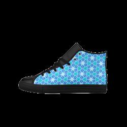 Aqua Hawaiian Stars under a Night Sky Dance Aquila High Top Microfiber Leather Men's Shoes (Model 027)