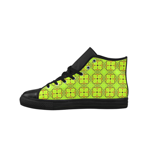 Lime Gold Geometric Squares Diamonds Aquila High Top Microfiber Leather Men's Shoes (Model 027)