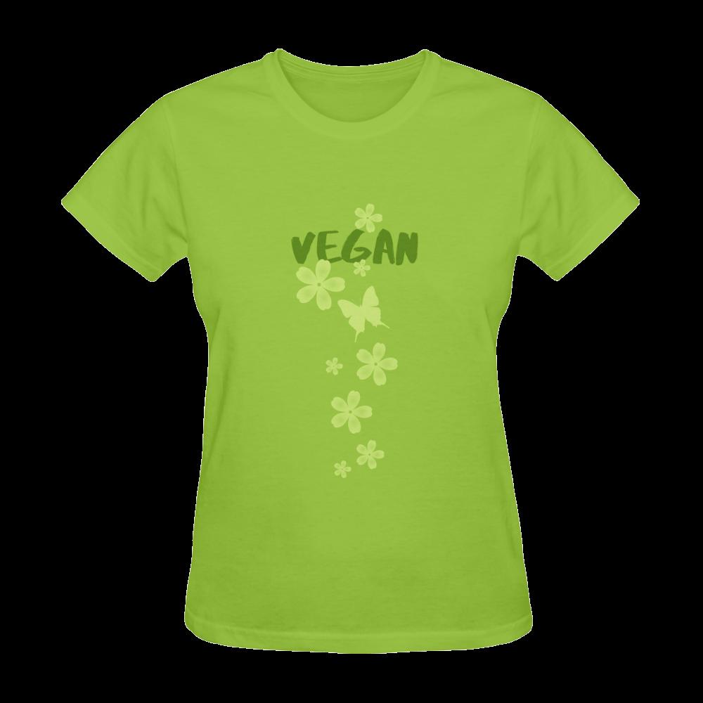Vegan Butterfly Flowers Think Green Sunny Women's T-shirt (Model T05)