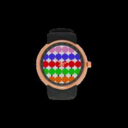 Lollipop Pattern Design Men's Rose Gold Resin Strap Watch(Model 308)