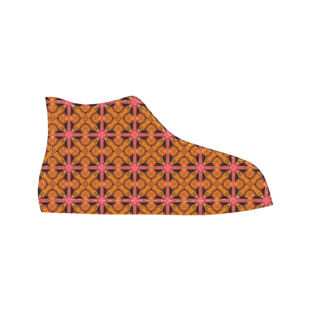 Peach Lattice Abstract Pink Snowflake Star Aquila High Top Microfiber Leather Men's Shoes (Model 027)