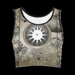 Steampunk, noble design, clocks and gears Women's Crop Top (Model T42)