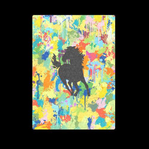 "Horse Shape Template Colorful Splash Blanket 58""x80"""