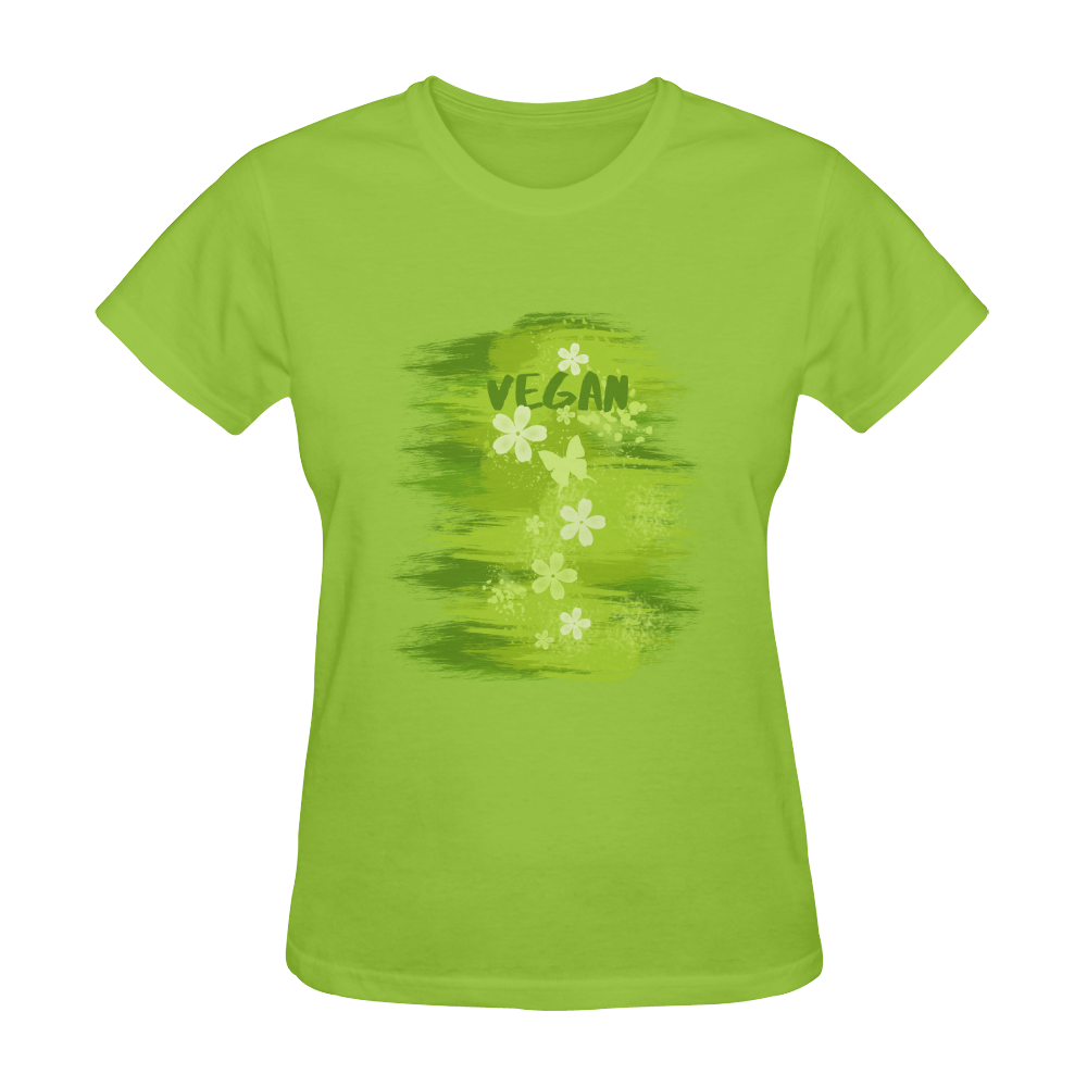 Vegan Green Dschungel Flower Butterfly Sunny Women's T-shirt (Model T05)