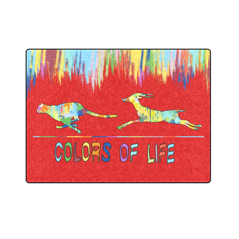 "Colors of Life Splash Shape Antelope Cheetah Blanket 58""x80"""