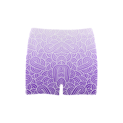 Ombre purple and white swirls doodles Briseis Skinny Shorts (Model L04)
