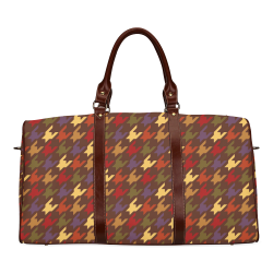 Fall Houndstooth Waterproof Travel Bag/Small (Model 1639)