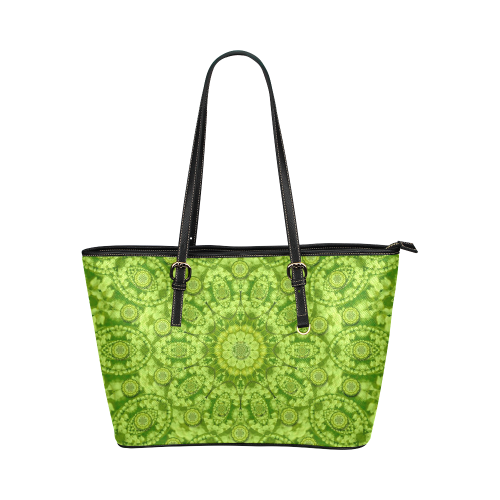 Magic Flowers In  the deep valley of paradise Leather Tote Bag/Small (Model 1651)
