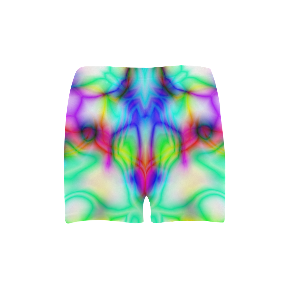tropical ink blue yellow purple pattern ZT03 Briseis Skinny Shorts (Model L04)