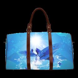 The cartoon sharks Waterproof Travel Bag/Small (Model 1639)