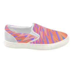 3-D Pastel Chevrons Women's Slip-on Canvas Shoes (Model 019)