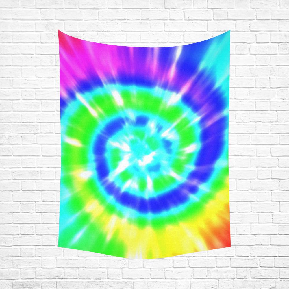 "Tie Dye Rainbow Cotton Linen Wall Tapestry 60""x 80"""