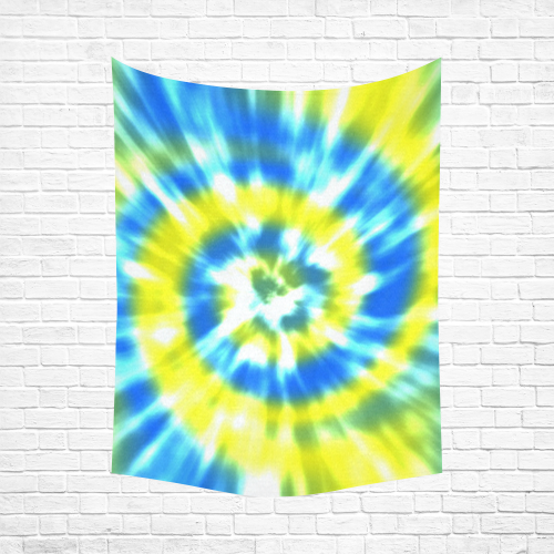 """Tie Dye Yellow and Aqua Cotton Linen Wall Tapestry 60""""x 80"""""""