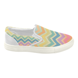 Summer-color Chevron Women's Slip-on Canvas Shoes (Model 019)