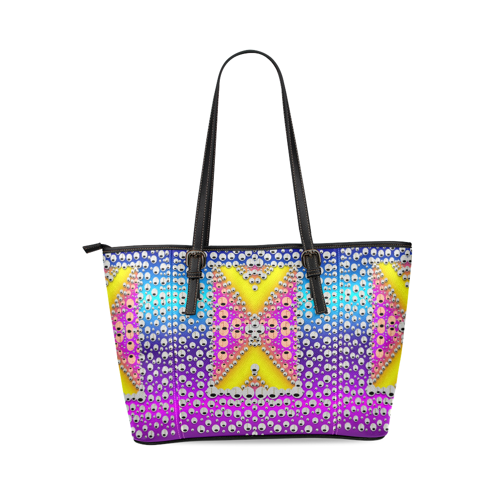 Music Tribute In the sun Peace and Popart Leather Tote Bag/Large (Model 1640)