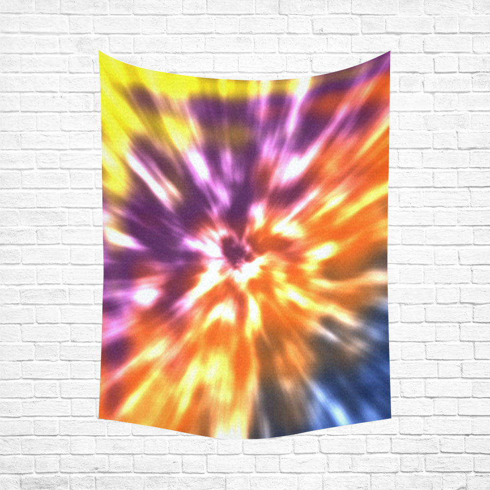"""Tie Dye Multi 2 Cotton Linen Wall Tapestry 60""""x 80"""""""
