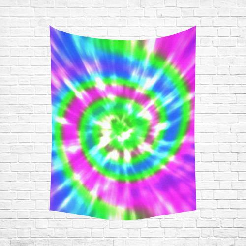 """Tie Dye Purple Green Aqua Cotton Linen Wall Tapestry 60""""x 80"""""""
