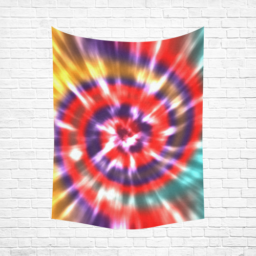 """Tie Dye Multi Color Cotton Linen Wall Tapestry 60""""x 80"""""""