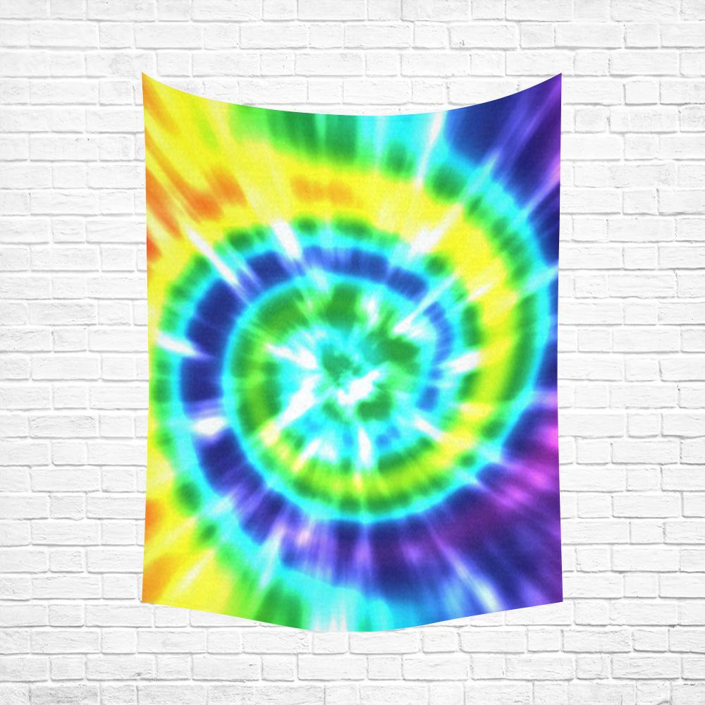 "Tie Dye Rainbow 3 Cotton Linen Wall Tapestry 60""x 80"""