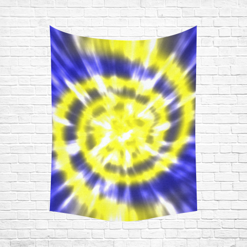 """Tie Dye - Yellow and Blue Cotton Linen Wall Tapestry 60""""x 80"""""""