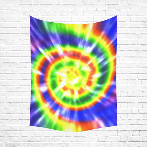 """Tie Dye Primary Colors Cotton Linen Wall Tapestry 60""""x 80"""""""