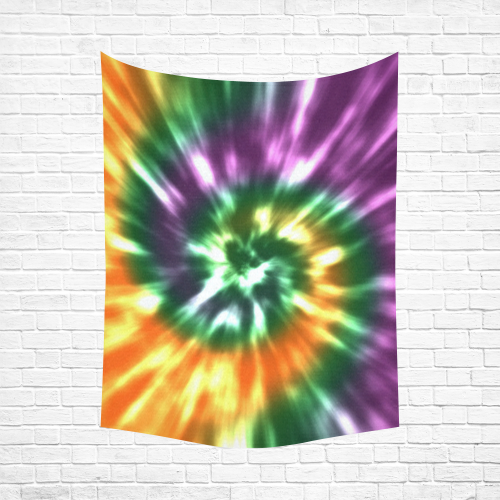 "Tie Dye Fall - Purple, Green, Gold Cotton Linen Wall Tapestry 60""x 80"""