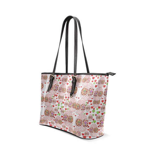 Love Bunnies in peace and Popart Leather Tote Bag/Large (Model 1640)