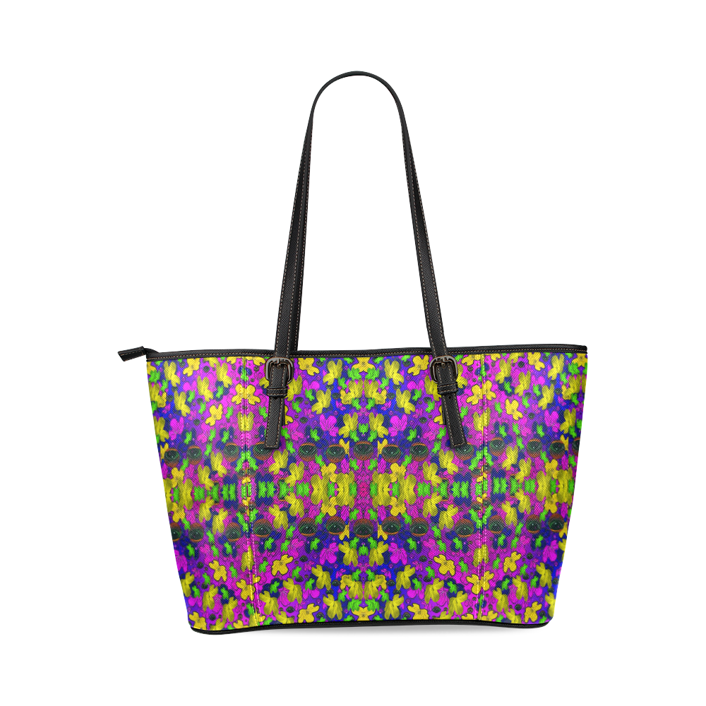 Eyes in the dark popart Leather Tote Bag/Large (Model 1640)