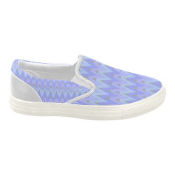 Cool Blues and Chevrons Women's Slip-on Canvas Shoes (Model 019)