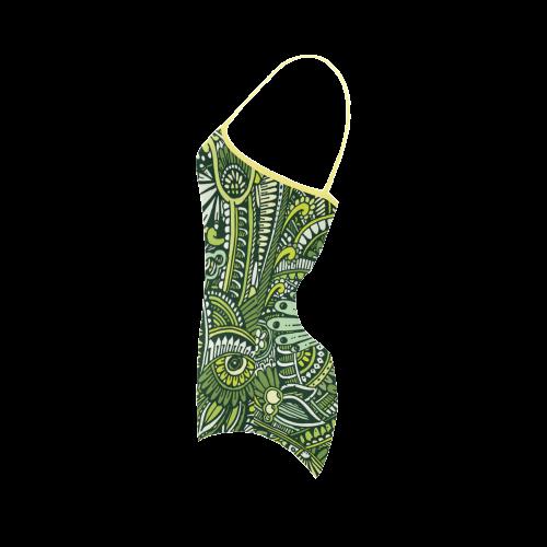 zz0105 floral green hippie flower whimsical patter Strap Swimsuit ( Model S05)